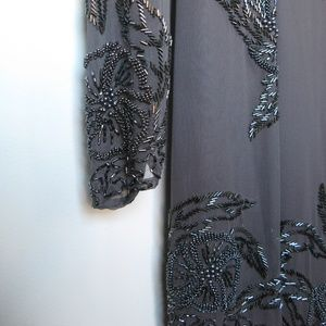 Beautiful Gray Beaded Asymmetrical Hemline - Silk